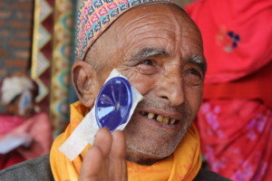 Happy patient after cataract surgery in Nepal
