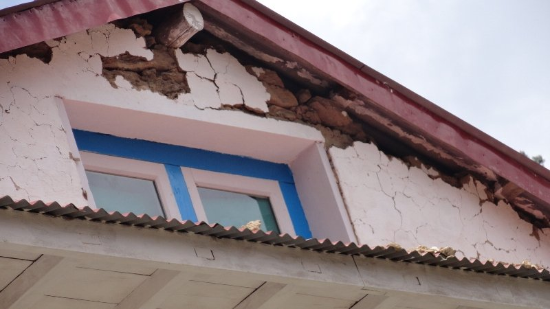 Exterior damage to Solukhumbu Community Eye Center