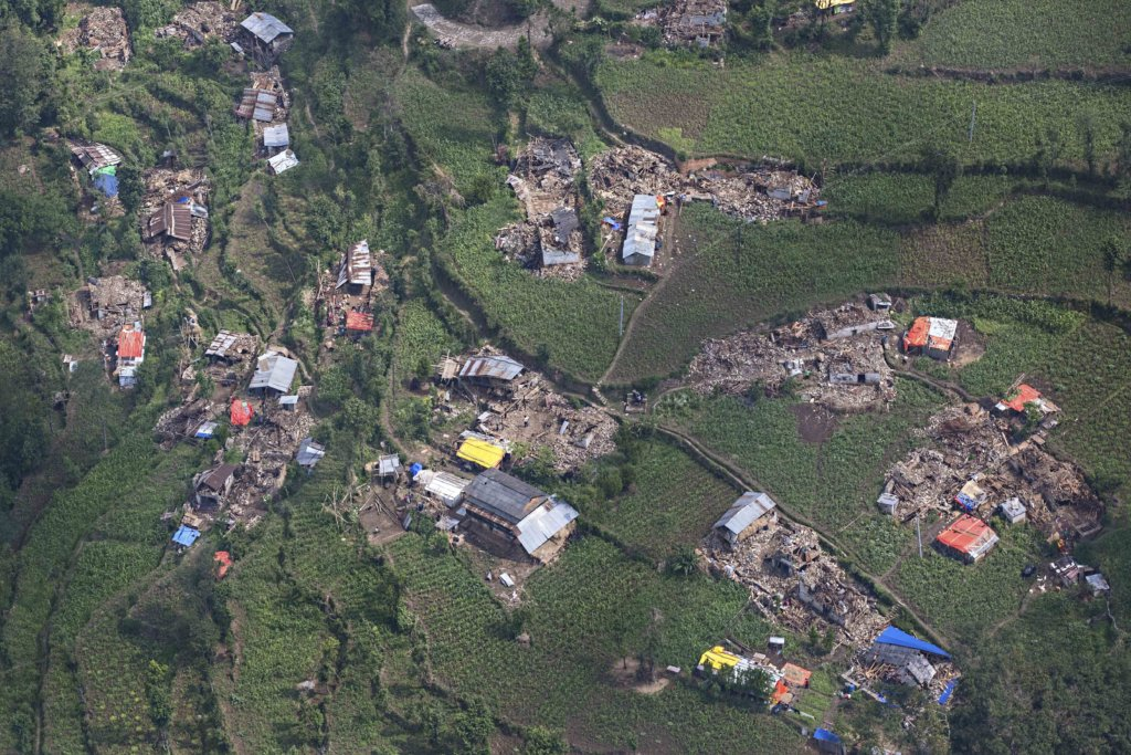 Aerial view of Dolakha region after earthquake