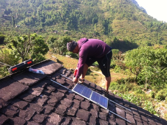 Installation of solar panel for solar suitcase