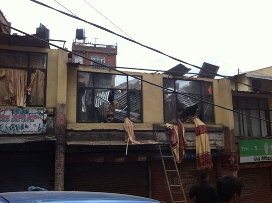 A collapsed roof in the streets of Nepal