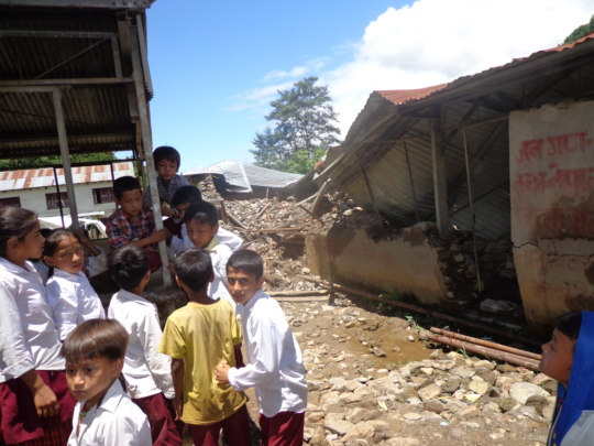 School children outside  the classroom