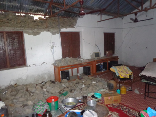 A broken hall  because of the earthquake
