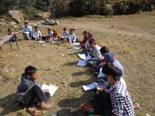 Students reading in School field