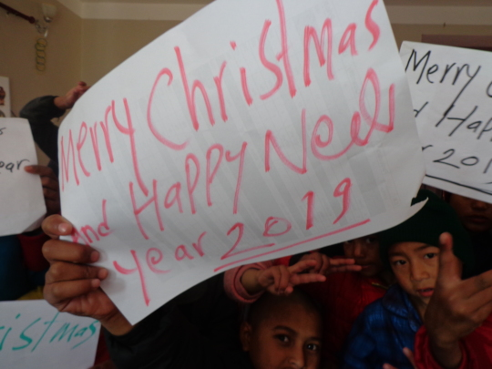 Students wishing us for Christmas & new year 2019