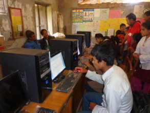 Students using computers in their  computer lab