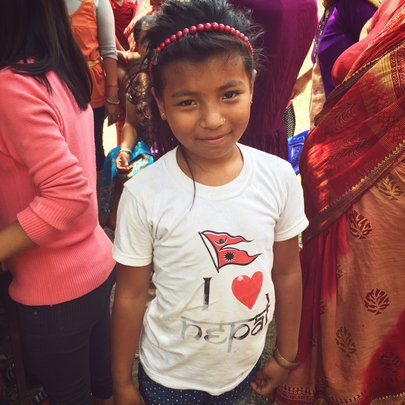 Young girl standing strong for Nepal