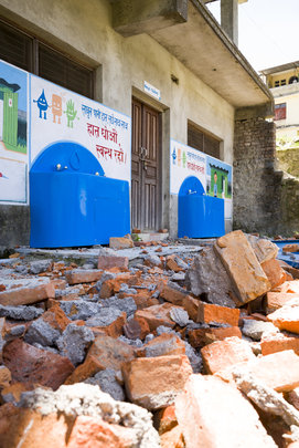 Earthquake damage at a school Splash serves