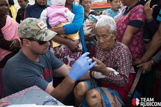 Donated medical supplies in use in Kathmandu