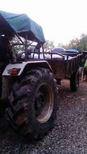 Tractor with donations for earthquake victims