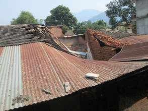 A damaged roof at a Room to Read school in Nepal