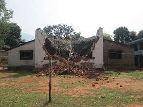 A damaged Room to Read school in Nuwakot, Nepal