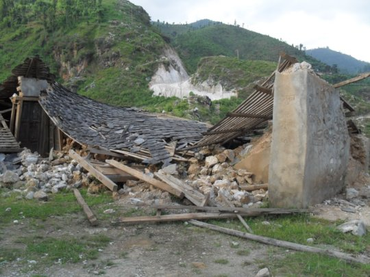 Collapsed school: Panchakanya Primary School