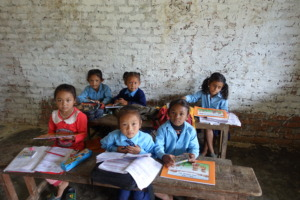 Classroom Visited by Trekkers Delivering Books