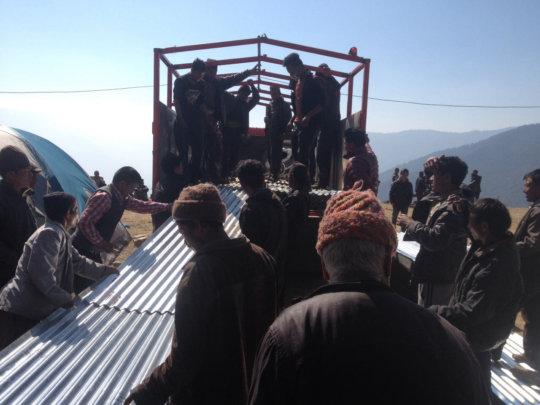 Zinc Roofing Unloaded at Bigu in Remote Nepal
