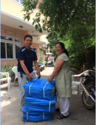 Anjana Sakya (rt) with Tarps Headed for Dolakha
