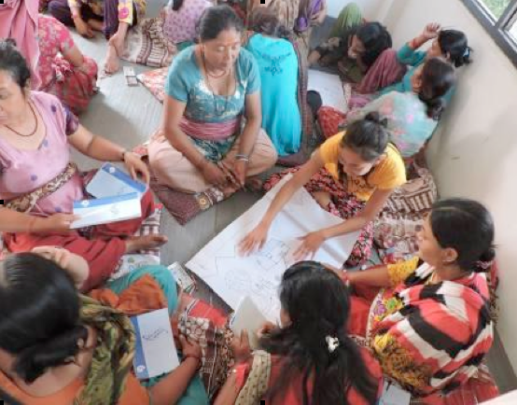 Women learning about budgeted funds