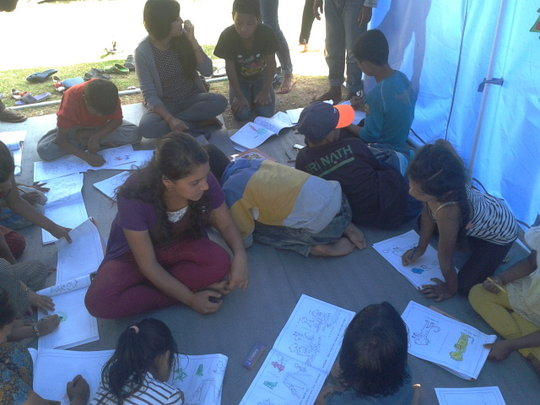 Children in camps coloring