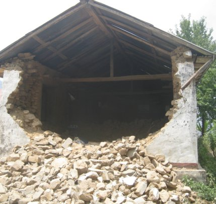 Ghusel Secondary School after the earthquake.