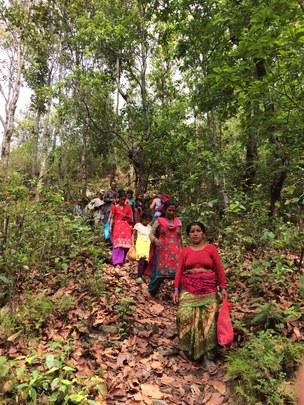 Survivors descend to meet our food aid