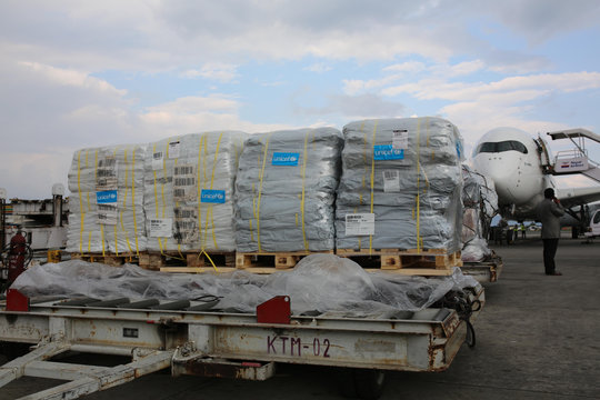 Supplies Arrive at Tribhuvan International Airport