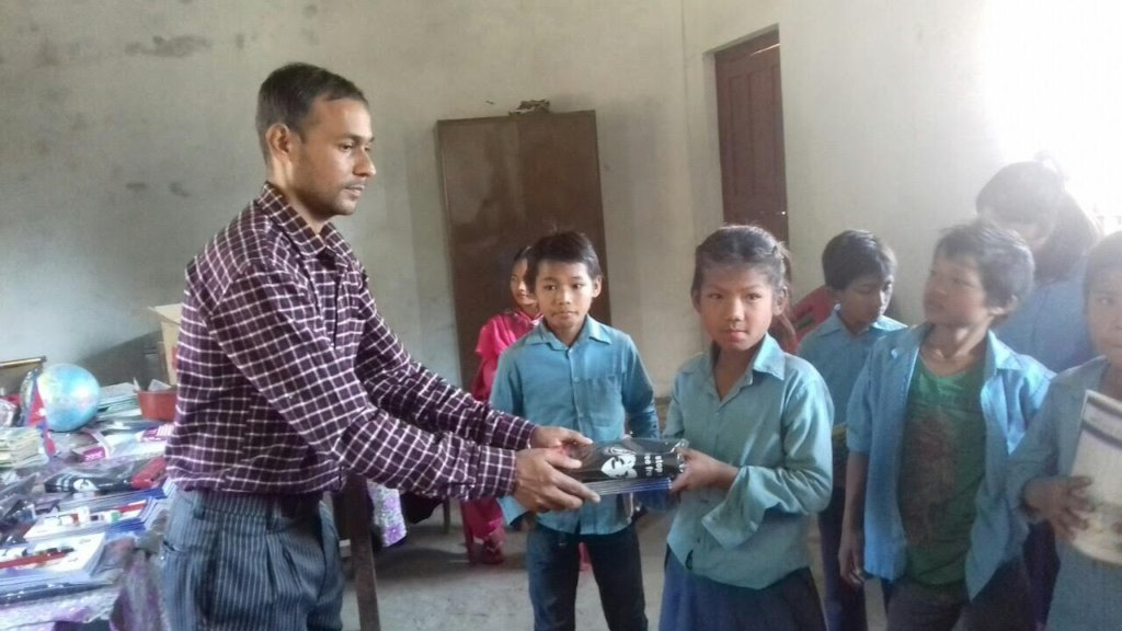 Makwanpur pupils receiving bursary help.