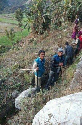 Villagers preparing irrigation channels