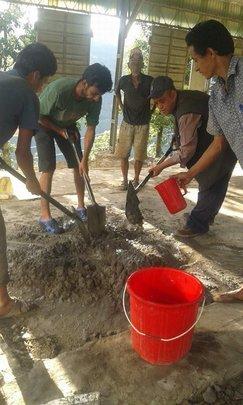 Constructing Temporary Learning Centre, Prativa.