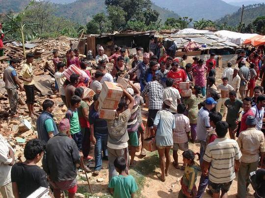 Distributing supplies.