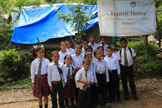 Children orphaned by quake in temporary shelter
