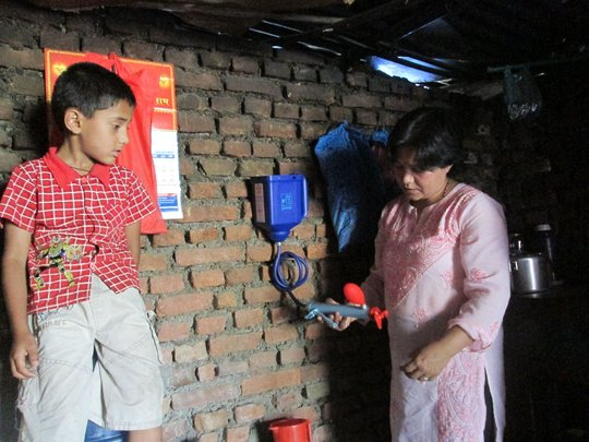 Mother and child with new water filter