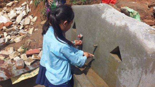 Sanitation corner under construction in Majh Gaun