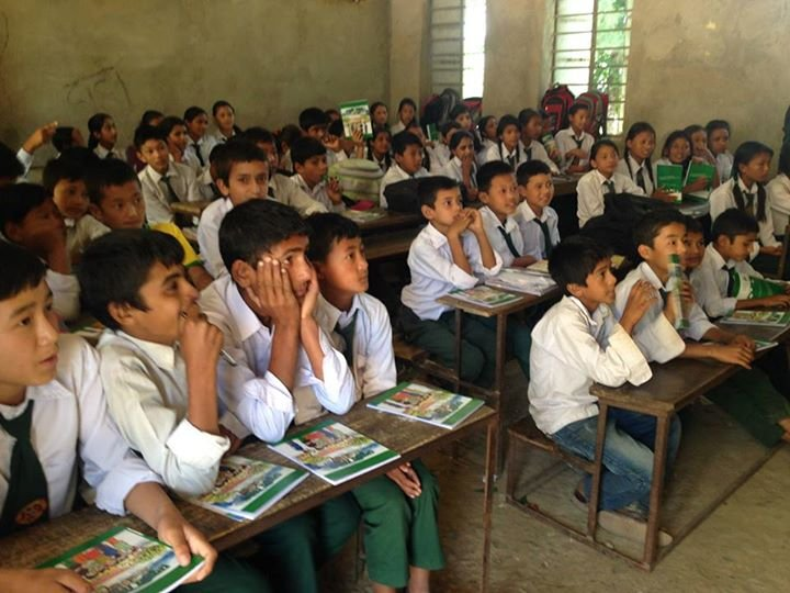Students using ECCA distributed copies in Sankhu