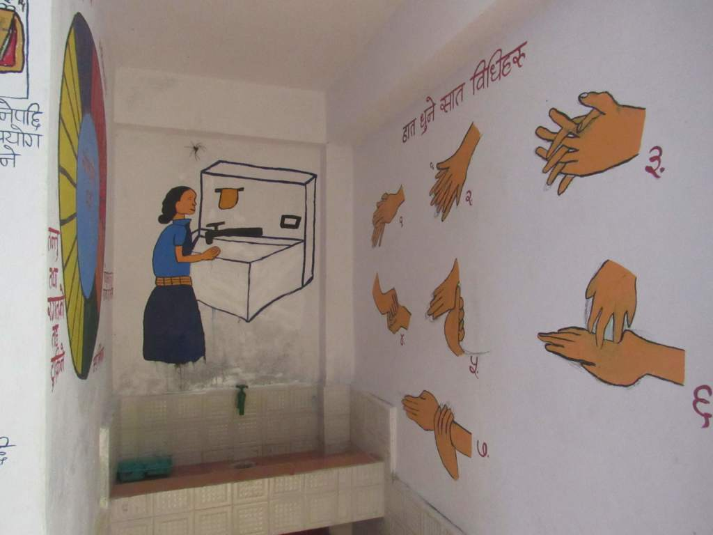 Hand washing technique painted on the wall