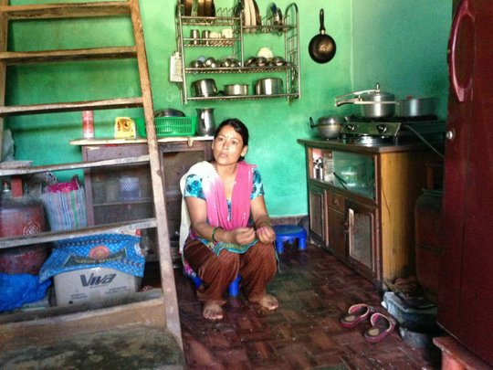 Shoba's house was partially destroyed by the quake