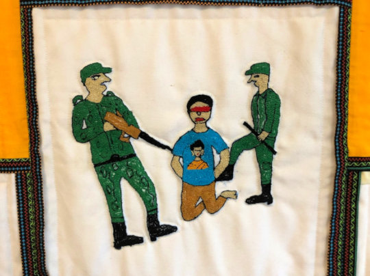 Binita's embroidery commemorates her lost husband