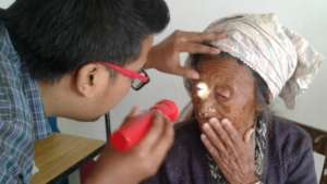 Getting the eyes checked at the CWN health camp