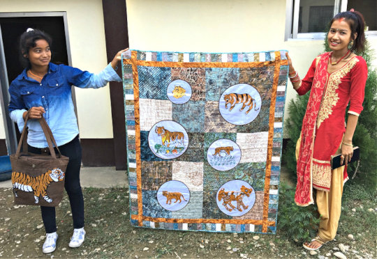 Kancham and Pooja contributed to this Tiger quilt