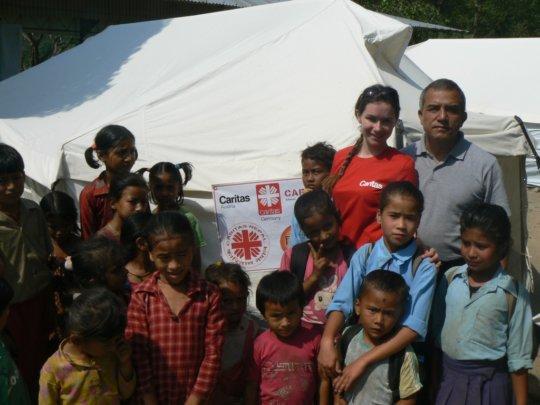 Eva Fleissner, Caritas Austria, & Nepalese pupils