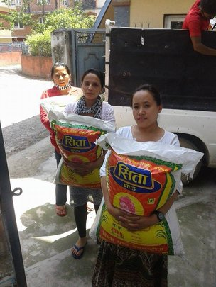 SASANE girls with relief food