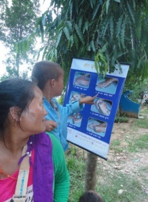 A boy looks at a poster on handwashing