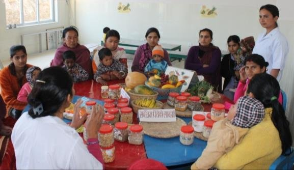 Mothers receiving nutrition education at NRH