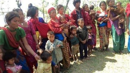 Mothers and children at a recent outreach camp