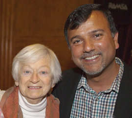 Olga with Som Paneru at her 87th birthday party