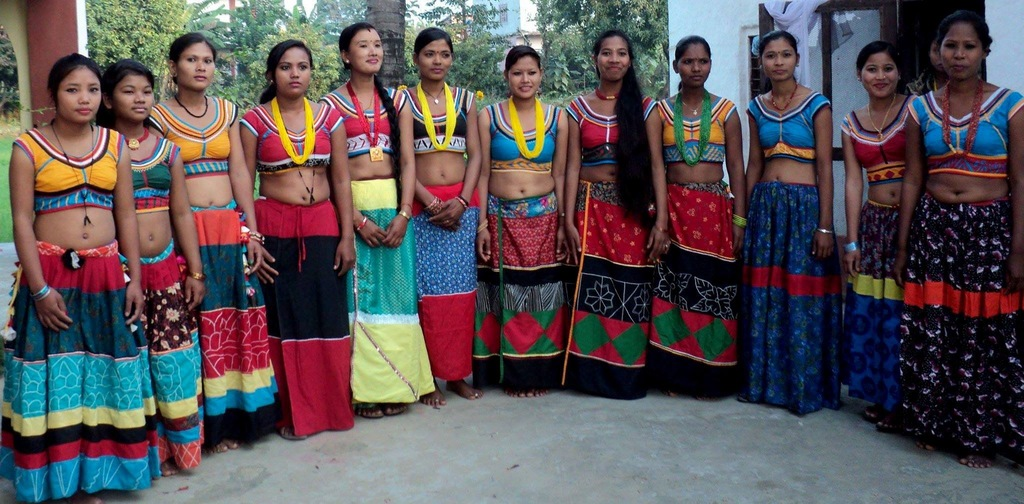 Young Tharu women in their tradtional attire