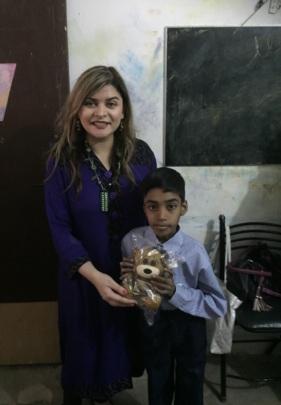 Presenting a teddy to Joshua