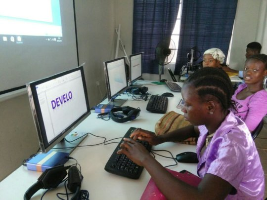 Young ladies in new computer lab