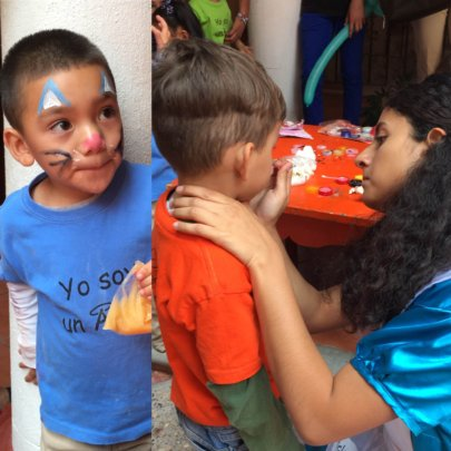 Our kids got their faces painted by the Red Cross