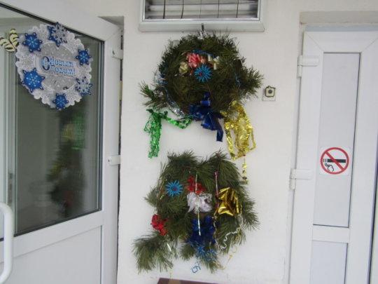 Handmade wreaths on the front door