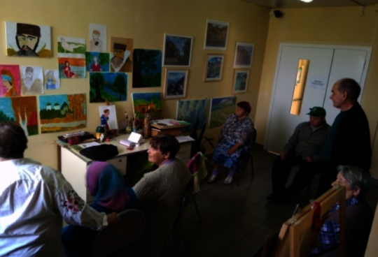 Artwork by care home residents on display